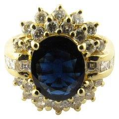 14 Karat Yellow Gold Oval Sapphire and Diamond Ring