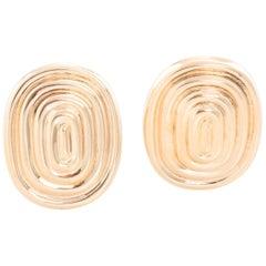 14 Karat Yellow Gold Oval Swirl Earrings