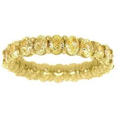 14 Karat Yellow Gold Oval Yellow Diamonds Eternity Ring '4. Carat'