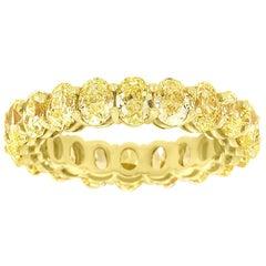 14 Karat Yellow Gold Oval Yellow Diamonds Eternity Ring '5. Carat'
