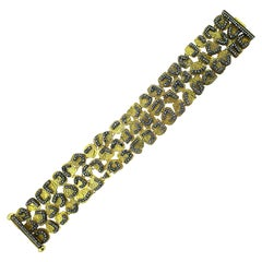 14 Karat Yellow Gold Oxidize Silver Champagne Diamonds 3 Rows Bracelet