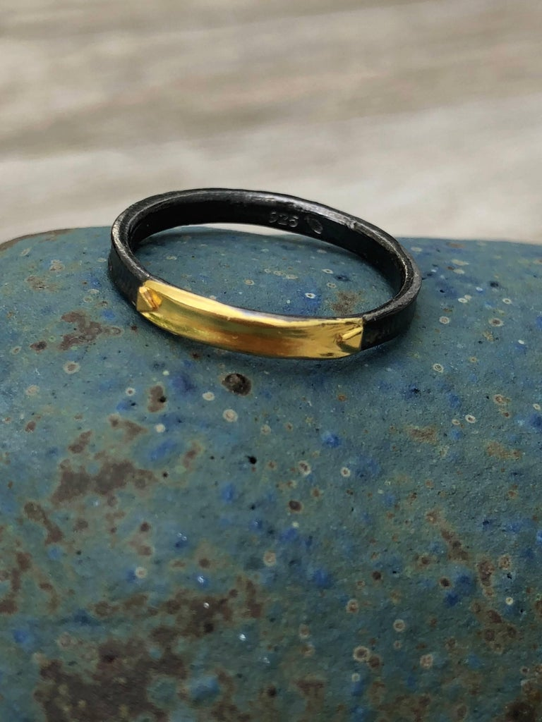 Women's 14 Karat Yellow Gold Oxidized Sterling Silver Wedding Band Ring For Sale