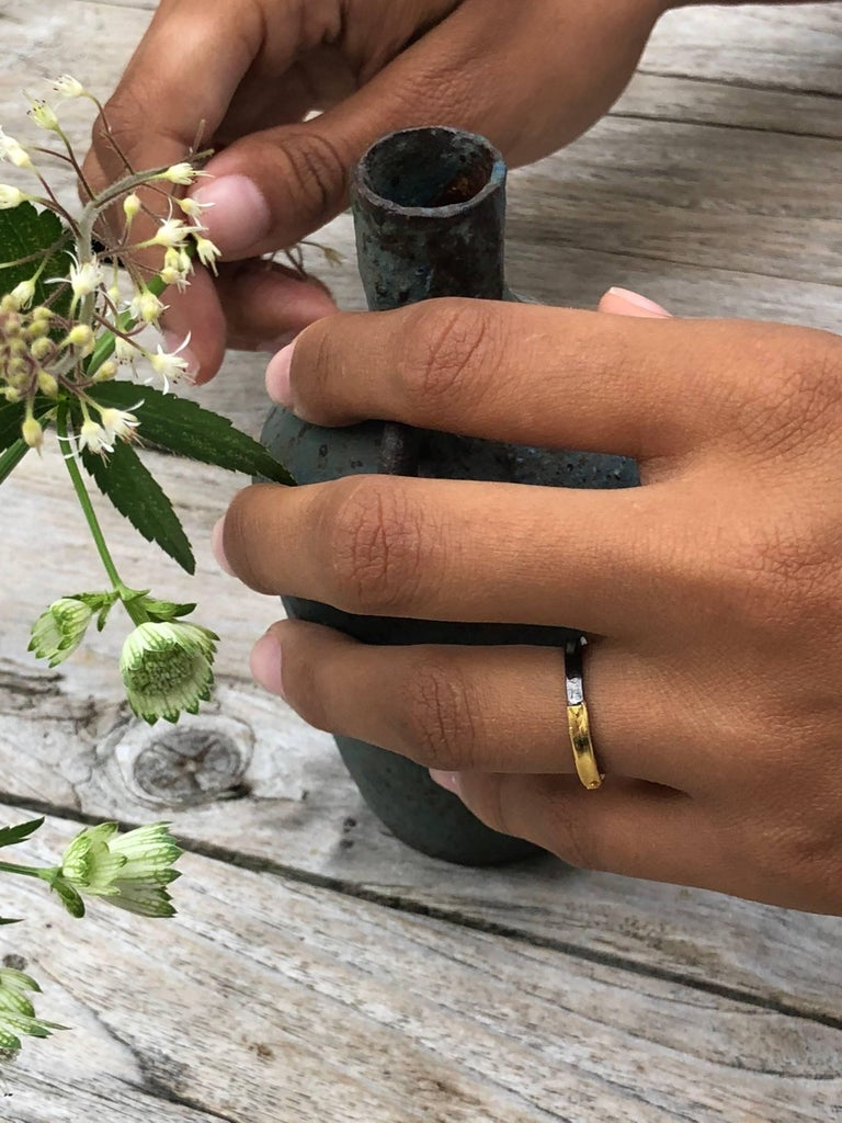 14 Karat Yellow Gold Oxidized Sterling Silver Wedding Band Ring For Sale 2