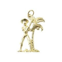 14 Karat Yellow Gold Palm Tree with Man with Machete Charm