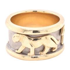 14 Karat Yellow Gold Panther Band Ring