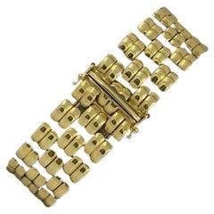 14 Karat Yellow Gold Panther Bracelet, 33.3 Grams