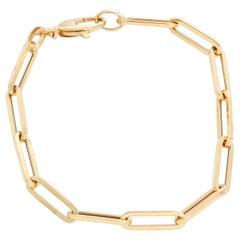 14 Karat Yellow Gold Paper Clip Chain Bracelet
