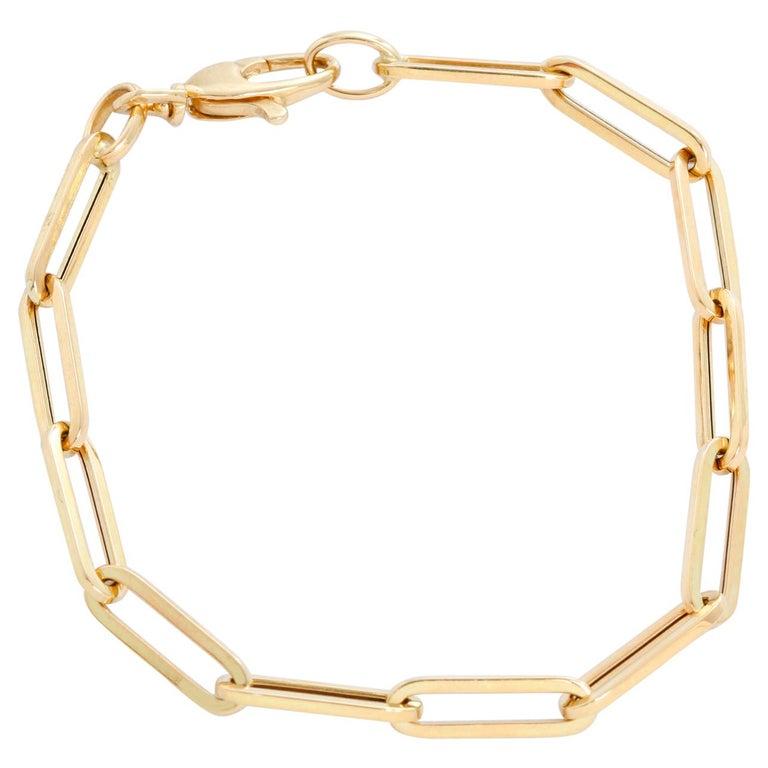 14 Karat Yellow Gold Paper Clip Chain Bracelet For Sale