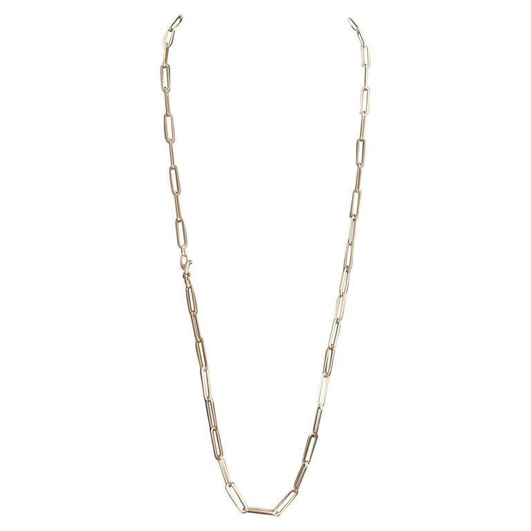 14 Karat Yellow Gold Paper Clip Chain Necklace For Sale