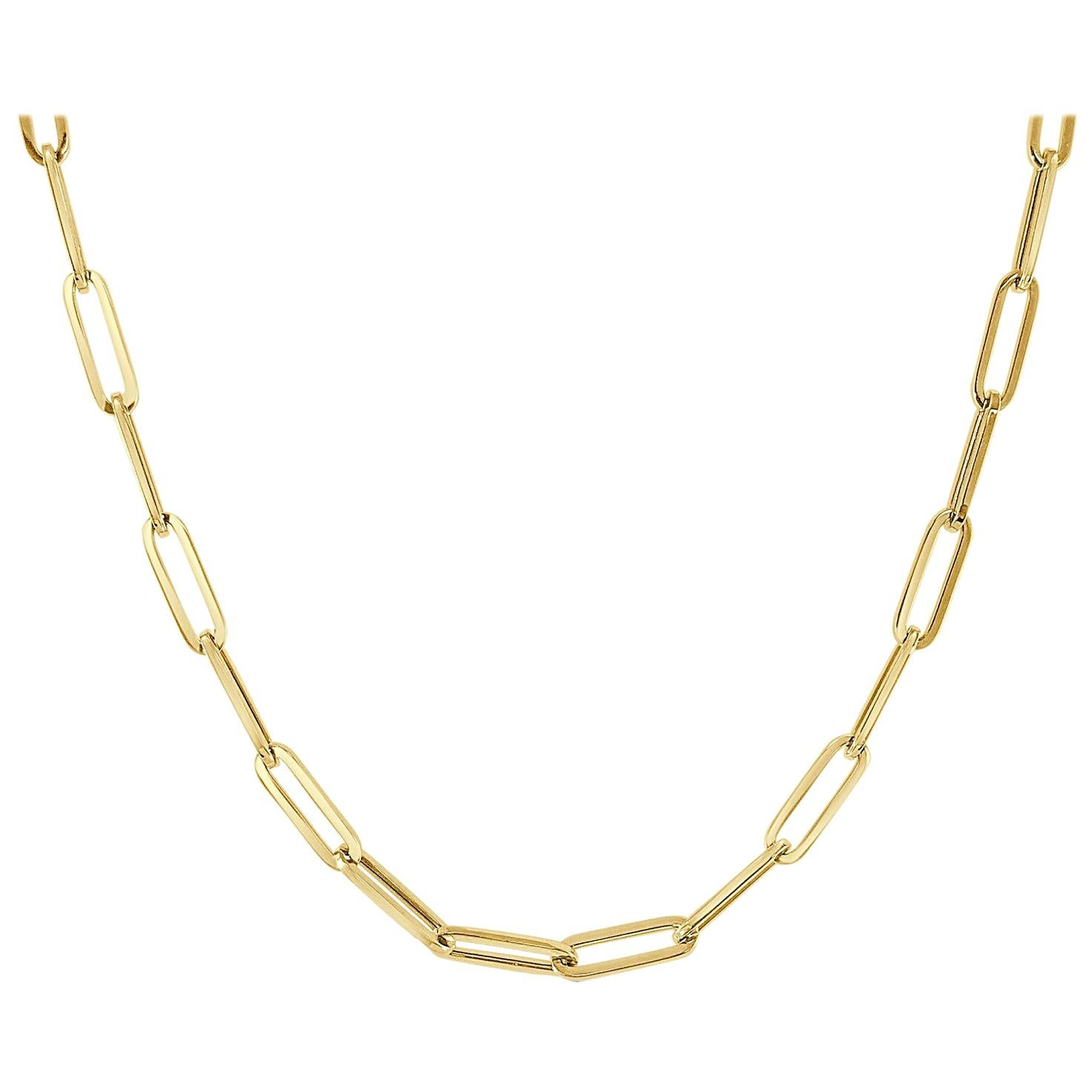 14 Karat Yellow Gold Paper Clip Link Chain Necklace, Made in Italy