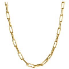 14 Karat Yellow Gold Paperclip Chain Necklace in, Made in Italy