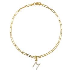 "14 Karat Yellow Gold Paperclip Diamond Initial ""M"" Link Chain Bracelet"