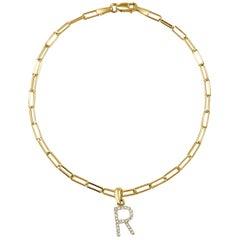 "14 Karat Yellow Gold Paperclip Diamond Initial ""R"" Link Chain Bracelet"