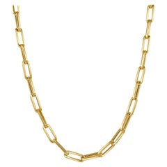 14 Karat Yellow Gold Paperclip Link Chain Necklace, Made in Italy