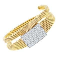 14 Karat Yellow Gold Pave' Diamond Bangle 2 Carat