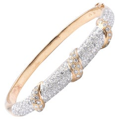 14 Karat Yellow Gold Pave Diamond Bangle Bracelet