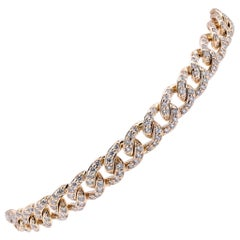 14 Karat Yellow Gold Pave Diamond Cuban Link Bracelet