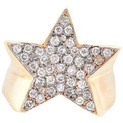14 Karat Yellow Gold Pave Diamond Star Ring