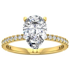 14 Karat Yellow Gold Pear Diamond with Pavé 2 Carat Center '2.3 Carat' H SI1 GIA