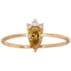 14 Karat Yellow Gold Pear Fancy Intense Yellow Diamond Ring 'Center-1/3 Carat'