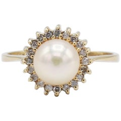 14 Karat Yellow Gold Pearl and Diamond Halo Cocktail Ring