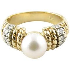 14 Karat Yellow Gold Pearl and Diamond Ring