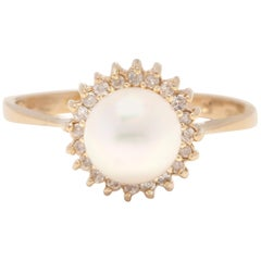 14 Karat Yellow Gold, Pearl and Diamond Ring, June Birthstone