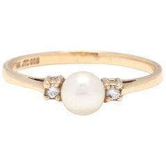 14 Karat Yellow Gold, Pearl and Diamond Three-Stone Ring, June Birthstone