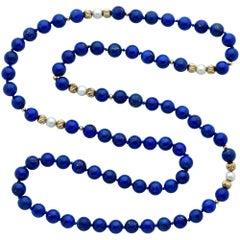 14 Karat Yellow Gold Pearl and Lapis Lazuli Bead Necklace