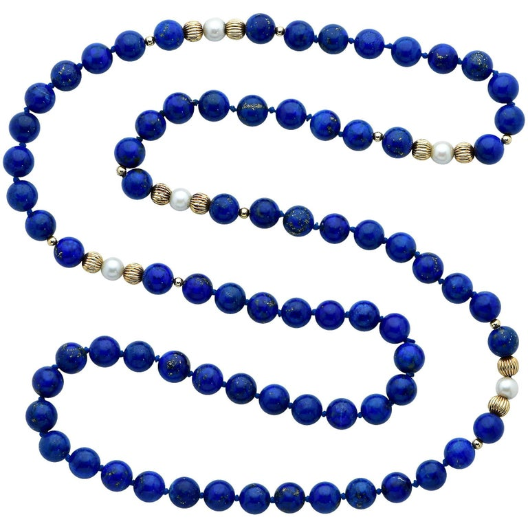 14 Karat Yellow Gold Pearl and Lapis Lazuli Bead Necklace