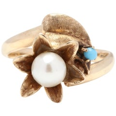 14 Karat Yellow Gold, Pearl and Turquoise Flower Bypass Ring
