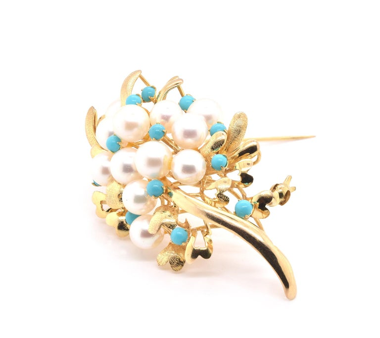 Round Cut 14 Karat Yellow Gold Pearl and Turquoise Pin For Sale