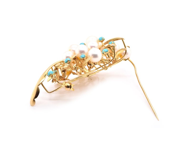 14 Karat Yellow Gold Pearl and Turquoise Pin In Excellent Condition For Sale In Scottsdale, AZ
