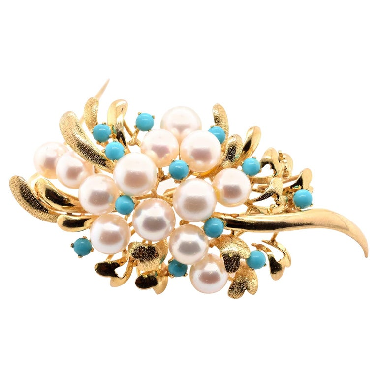 14 Karat Yellow Gold Pearl and Turquoise Pin For Sale