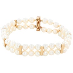 14 Karat Yellow Gold Pearl Bracelet