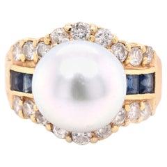 14 Karat Yellow Gold Pearl, Diamond, and Sapphire Fashion Ring