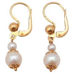 Vintage Pearls 14K Gold Drop Earrings
