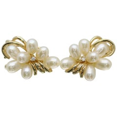 14 Karat Yellow Gold Pearl Earrings with Diamonds