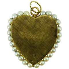14 Karat Yellow Gold Pearl Large Heart Charm Pendant