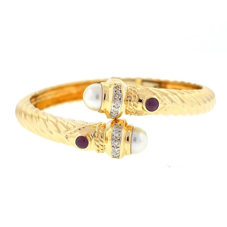 14 Karat Yellow Gold Pearl Ruby and Diamonds Bangle Bracelet