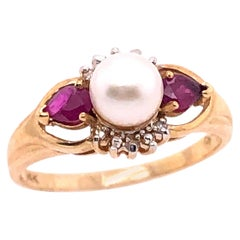 14 Karat Yellow Gold Pearl Solitaire Ring with Ruby and Diamond Accents