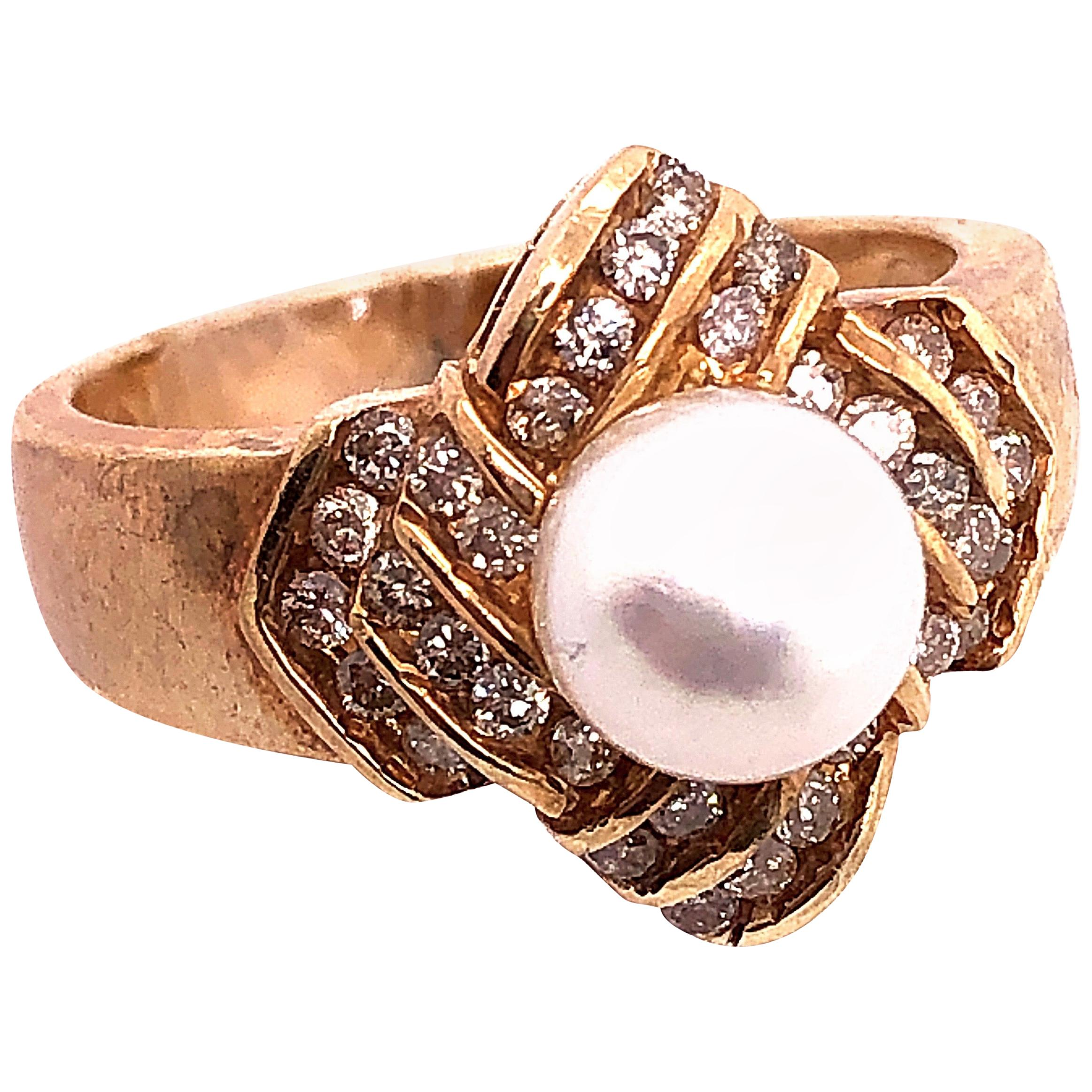 14 Karat Yellow Gold Pearl Solitaire with Diamond Accents Ring