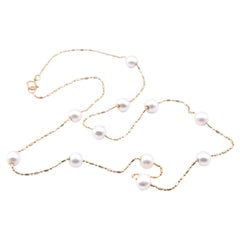14 Karat Yellow Gold Pearl Station Necklace