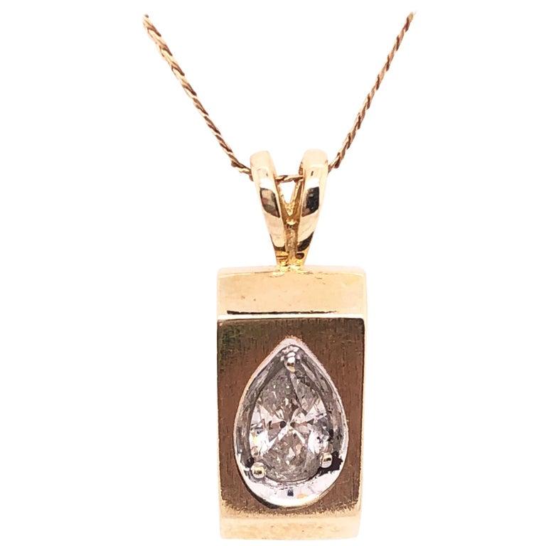 14 Karat Yellow Gold Pendant Necklace For Sale