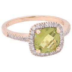 14 Karat Yellow Gold Peridot and Diamond Ring