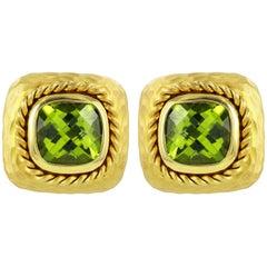 14 Karat Yellow Gold Peridot Clip Earrings