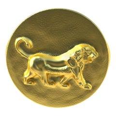 14 Karat Yellow Gold Persepolis Lion Signet Ring