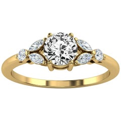 14 Karat Yellow Gold Petite Organic Design Round Diamond Ring Center, 1/2 Carat
