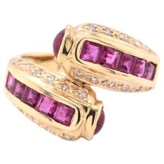 14 Karat Yellow Gold Pigeons Blood Ruby and Diamond Bypass Ring