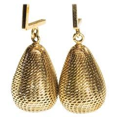 14 Karat Yellow Gold Pineapple Dangle Drop Earrings